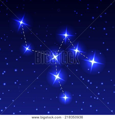 The Constellation Of The Giraffe in the night starry sky. Vector illustration of the concept of astronomy