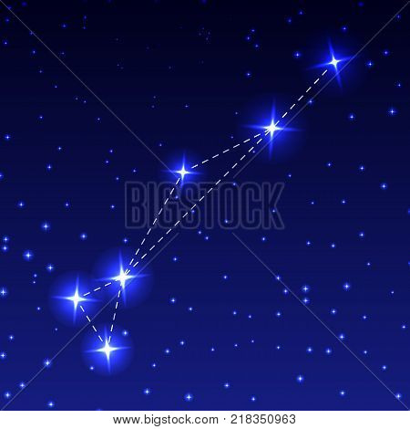 The Constellation Of Gold Fish in the night starry sky. Vector illustration of the concept of astronomy