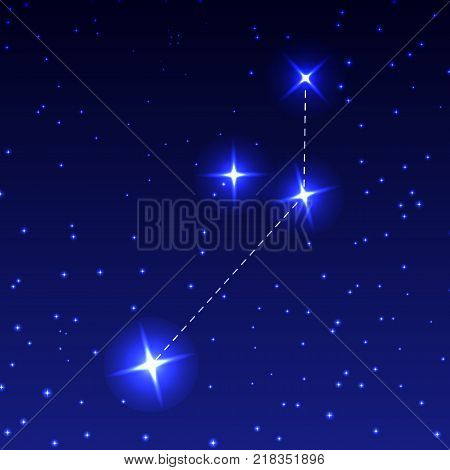 The Constellation Of The Painter in the night starry sky. Vector illustration of the concept of astronomy