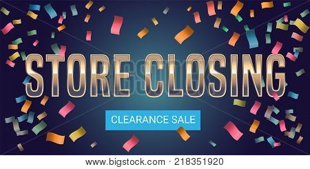 Store closing vector illustration, background. Template banner, design element for store shutting down clearance sale