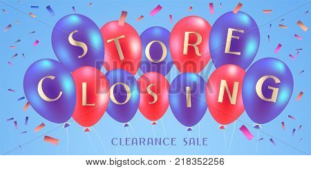 Store closing sale vector illustration, background. Template design, banner for clearance sale in stock