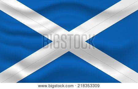 Waving flag of Scotland. Vector illustration for your design