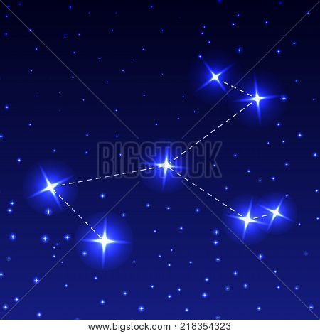 The Constellation Of The Unicorn in the night starry sky. Vector illustration of the concept of astronomy