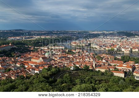 View of the Mala Strana District (Lesser Town), Vltava River and Old Town in Prague, Czech Republic, from above.