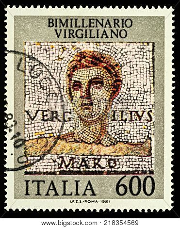 Moscow Russia - December 15 2017: A stamp printed in Italy shows mosaic portrait of Roman poet Publius Vergilius Maro (Virgil) series