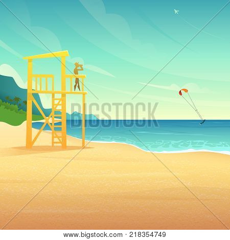 Baywatch tower on the sandy coast. Lifeguard house on tropical beach. Lifeguard watching the rolling surfer in the sea