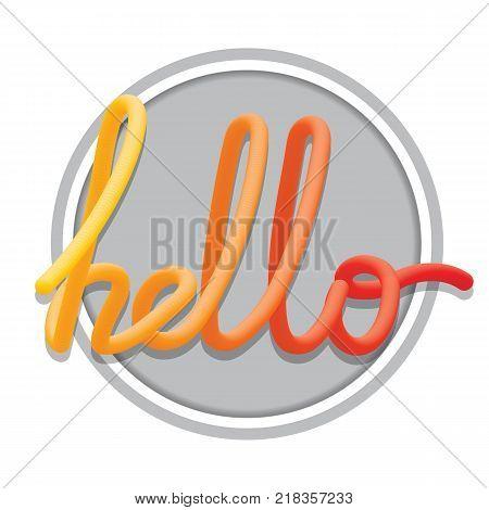 Hello sign. Calligraphic hand written hello script. Color blended Vector illustration.
