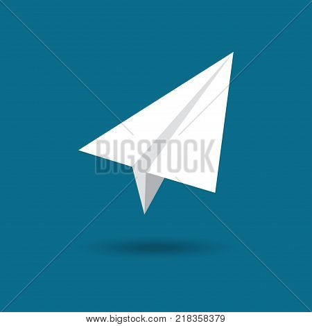 Origami plane. Paper airplane symbol vector illustration flat design