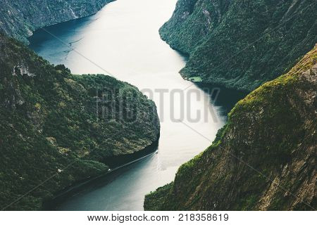 Sea fjord and forest Mountains Naeroyfjord Landscape aerial view in Norway beautiful scenery scandinavian wild nature