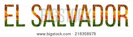 El Salvador. word is written with leaves white isolated background, banner for printing, creative of color leaves El Salvador