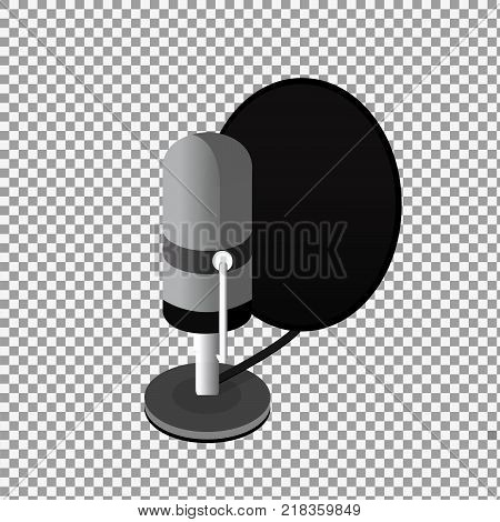 Isometric Podcast icon, vector flat design isolated on transparent background. -stock vector