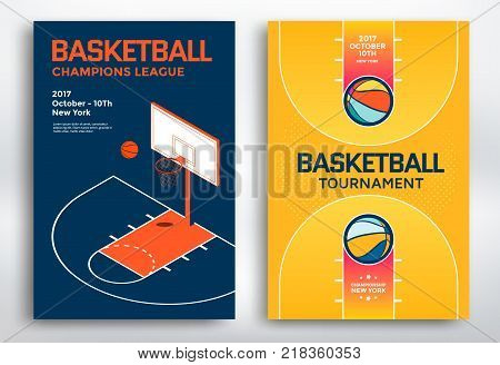 Basketball tournament sports posters design. Isometric basketball backboard and court. Vector illustration.