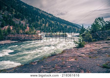 Kootenai River Water Falls In Montana Mountains
