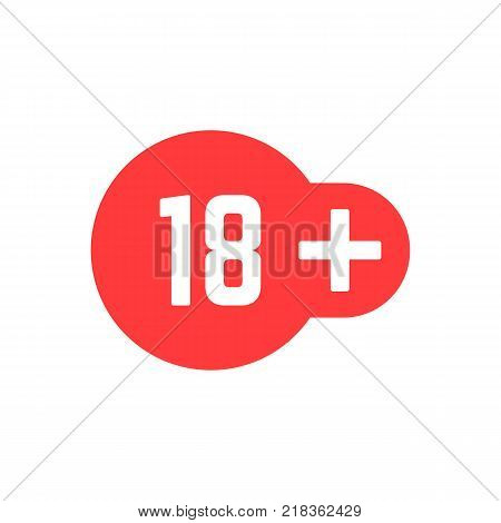 simple 18 plus red icon. concept of ui emblem, unusual ban symbol, censure, adult permit, x-rated, age limit mark. flat style trend logotype graphic stamp badge design on white background