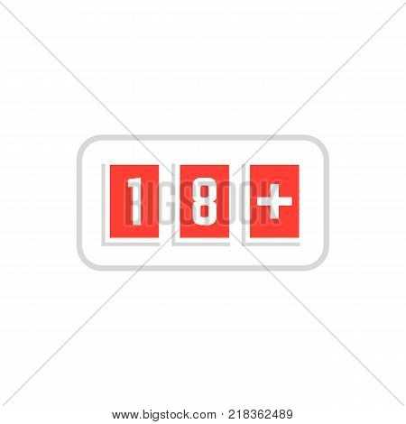 red simple 18 plus icon scoreboard. concept of ui emblem, unusual ban symbol, censure, adult permit, x-rated, age limit mark. flat style trend logotype graphic stamp badge design on white background