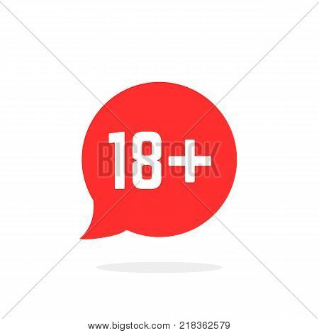 red speech bubble like 18 plus. concept of ui emblem, unusual ban symbol, censure, adult permit, x-rated, age limit mark. flat style trend logotype graphic stamp badge design on white background