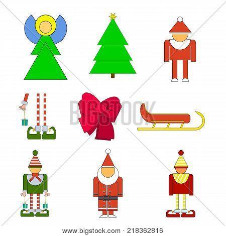 Set Christmas holiday objects. Vector illustration of elf santa angel bow christmes tree sledge on white background. Simple shape style. Flat design.