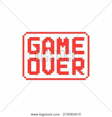 simple game over pixel badge on white background. gaming entertainment emblem for graphical user interface or trend modern leisure concept. unusual flat style pixelated graphic design symbol