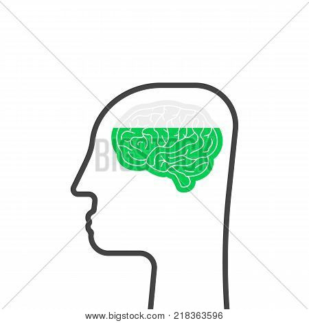 thin line head with brain like education. flat outline stroke style logo graphic art design on white background. cognitive ability, intellectually activity or development of mental abilities concept