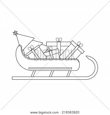 Santas Sledge with presents. Santa sleigh outline vector illustration isolated on white background. Simple shape style. Flat design. Icon Graphic Symbol Design.