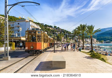 Port De Soller Mallorca Spain - October 13 2017: Famous tramway tren of Port de Soller Palma Mallorca Spain