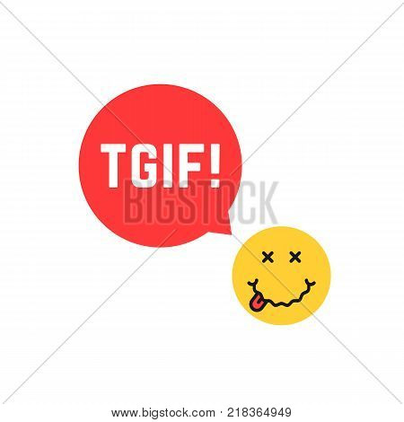 yellow drunk emoji tgif logo like thank god it is friday. concept of expression of happiness on the face or funny emoticon with red ad emblem. flat style trend modern graphic unusual design on white