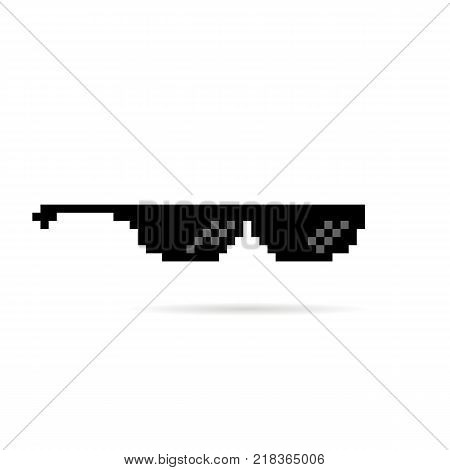 black thug life meme like glasses in pixel art style. trend modern logotype graphic editable design on white background. concept of ghetto lifestyle culture or stylish accessory silhouette for vision