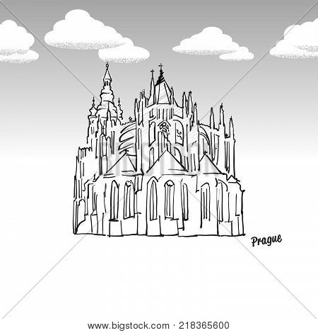 Prague, Czech Republic famous landmark sketch. Lineart drawing by hand. Greeting card icon with title, vector illustration