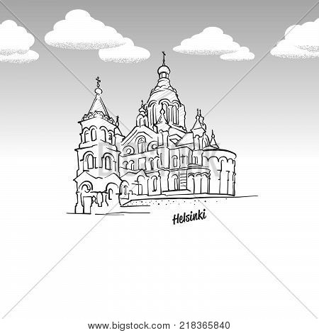 Helsinki, Finland famous landmark sketch. Lineart drawing by hand. Greeting card icon with title, vector illustration