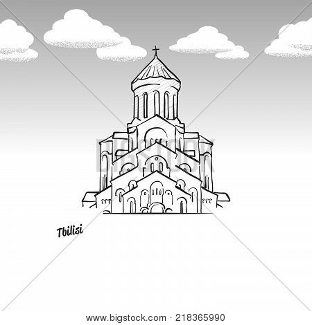 Tbilisi, Georgia famous landmark sketch. Lineart drawing by hand. Greeting card icon with title, vector illustration