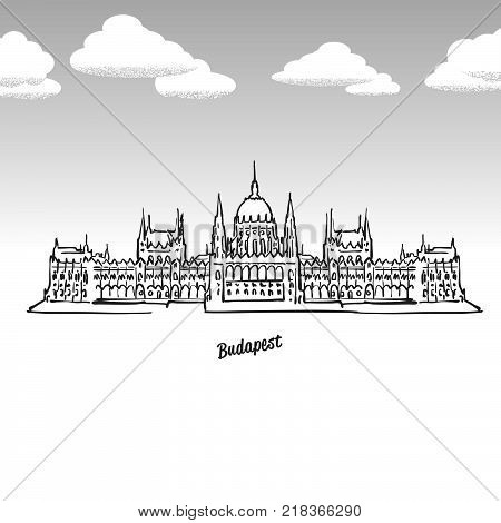 Budapest, Hungary famous landmark sketch. Lineart drawing by hand. Greeting card icon with title, vector illustration