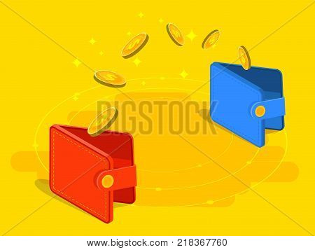 Money Transfer From And To Wallet In Isometric Vector Design. Capital Flow, Earning Or Making Money.