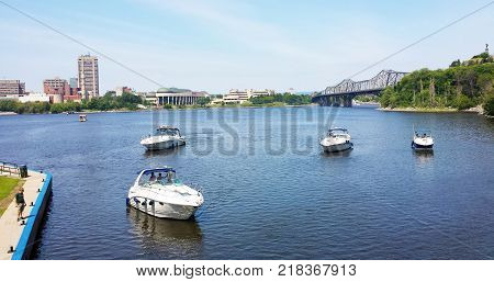 Ottawa Ontario Canada - 21 July 2016: Boats in Rideau Canal and the Ottawa River during a sunny summerday as editorial