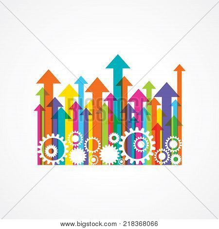 gear or cog wheel with colorful arrows stock vector