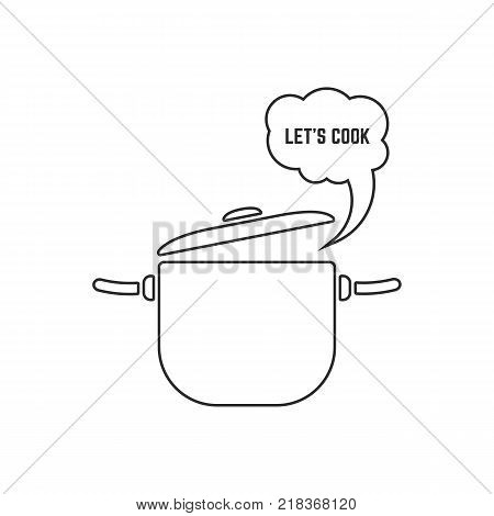 black linear pan with steam icon on white background. concept of boil water in dishware like cooking stage and simple stainless casserole sign. stroke flat style trend modern logo graphic art design