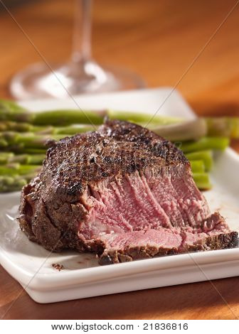 tenderloin steak cut open cooked rare