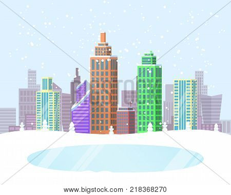 Wintertime cityscape poster with frozen lake in park zone and buildings covered with snow on background. Vector illustration with snowy winter city