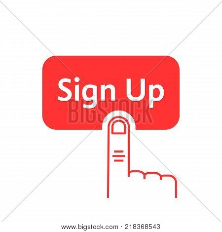 red linear finger presses on sign up button. flat linear style trend modern logo graphic design on white background. concept of click here like ui symbol and new registration on web site