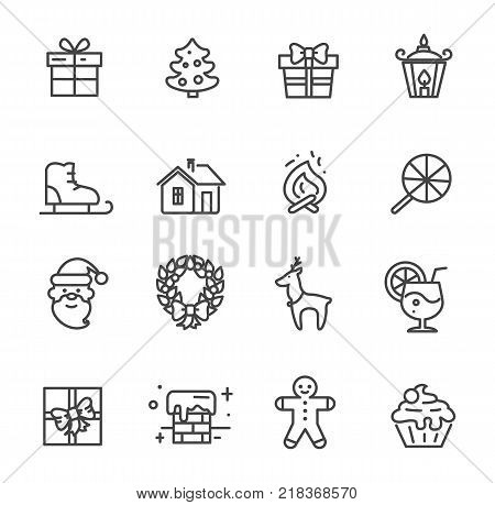 Set of cute transparent icons isolated on white background. Vector illustration with gift box decorated with bow, snowy chimney and smiling Santa Claus
