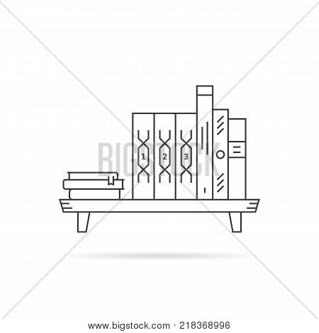 thin line black book shelf on white. minimal furniture in room or public library and bibliography like love of reading concept. stroke style modern logotype graphic art design isolated on background