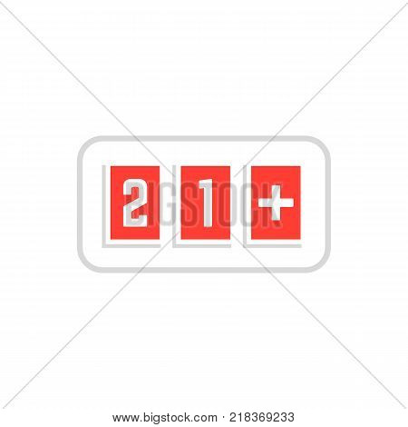 red simple 21 plus icon scoreboard frame on white. flat trend graphic design sign. twenty one years restriction for illegal content or product and age warning online info button for website ui concept