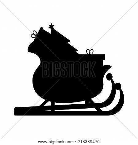 Santas Sledge with presents. Santa sleigh silhouette vector illustration isolated on white background. Simple cartoon style. Icon Graphic Symbol Design.
