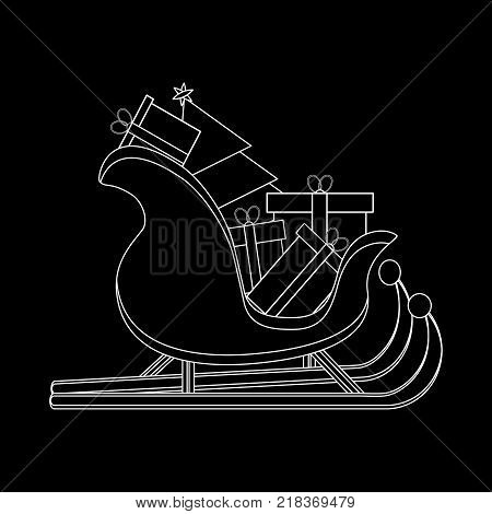 Santas Sledge with presents. Santa sleigh silhouette vector illustration isolated on black background. Simple cartoon style. Icon Graphic Symbol Design.