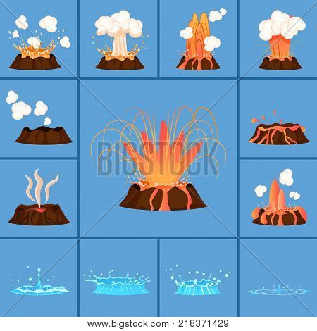 Active volcano and blue geyser in action set of isolated icons. Splash of hot lava, flowing magma, discarded steam under pressure. Powerful aqua fountain from hot spring vector illustrations poster