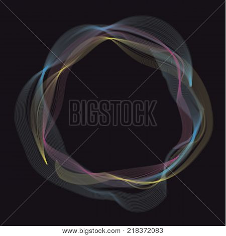 Abstract steam and smoke round vector illustration. Abstract sophisticated curve pattern. Circle frame motif for card, invitation, header print and web design.