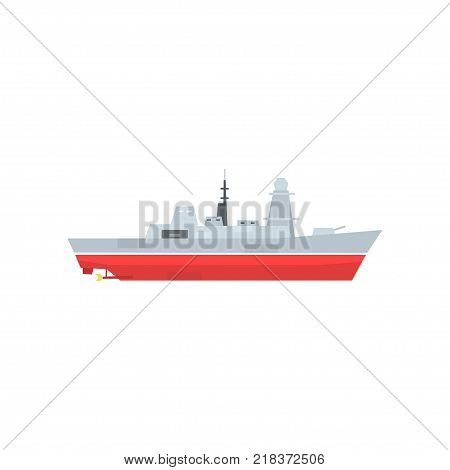 Naval armed ship with radar and antenna. Military boat with big cannon. Large army ship in flat style. Side view. Cartoon vector illustration isolated on white. Design for sticker, poster, mobile app.