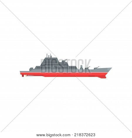 Colored military warship with radar and guns fixed on it. Naval boat with artillery. Graphic design for sticker, poster or mobile game. Vector illustration in flat style isolated on white background.