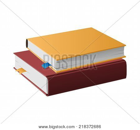 Two books in hard covers lying one on another vector illustrations isolated on white. Textbooks with textile bookmarks, dictionaries and encyclopedias