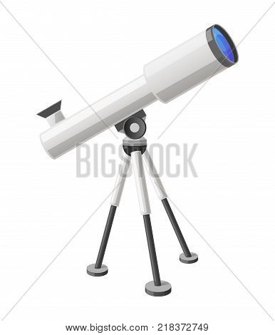 Close-up of modern refractor telescope with steel tripod isolated vector illustration on white background. View from right cartoon style
