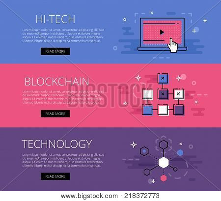 Vector illustration of different colored banner about blockchain technology with Hi-tech Blockchain Technology words in flat line.